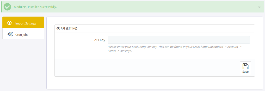 thirty bees MailChimp module configuration